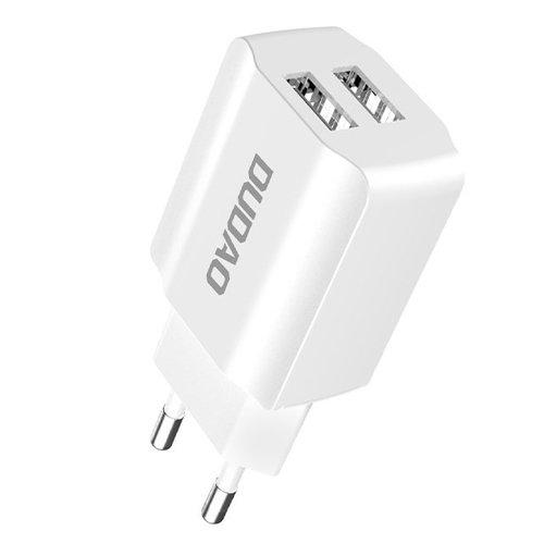 Dudao 2x USB Home Travel EU Adapter Wall Charger 5V/2.4A white (A2EU white)