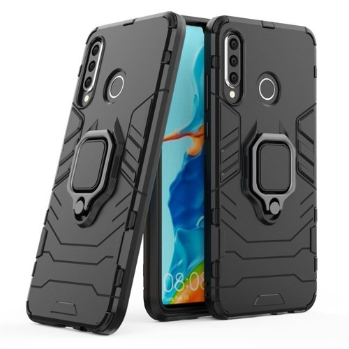 Ring Armor Case Kickstand Tough Rugged Cover for Huawei P30 Lite black