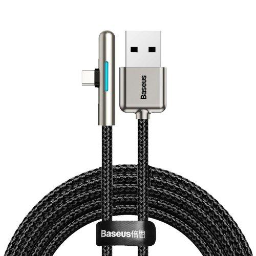 Baseus 90 Grad, Nylon USB Type C Kabel für Spieler 4A 40W Huawei Super Charge 2m schwarz (CAT7C-C01)