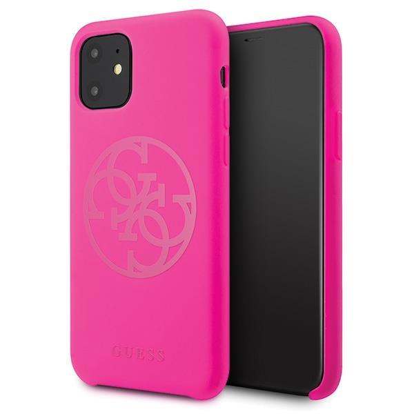 Guess GUHCN65LS4GFU iPhone 11 Pro Max fuchsia / fuchsia Hartschalenetui Silikon 4G Tone On Tone