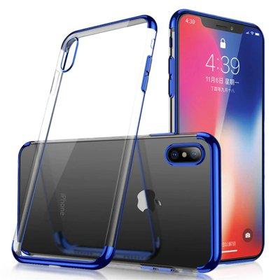 Clear Color Silikon Gel Electroplating frame Handyhülle Schutzhülle für Samsung Galaxy A50s / Galaxy A50 / Galaxy A30s blau