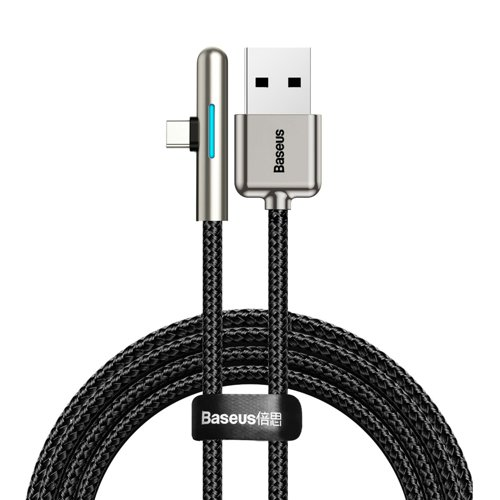 Baseus kątowy nylonowy kabel przewód USB Typ C dla graczy 4A 40W Huawei Super Charge 1m czarny (CAT7C-B01)